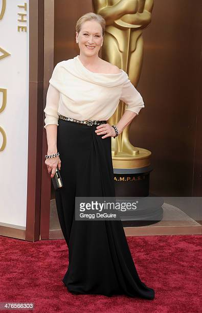 Actress Meryl Streep arrives at the 86th Annual Academy Awards at Hollywood Highland Center on March 2 2014 in Hollywood California