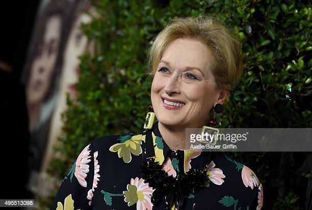 Actress Meryl Streep arrives at the Los Angeles Premiere Of Focus Features' 'Suffragette' at Samuel Goldwyn Theater on October 20 2015 in Beverly...