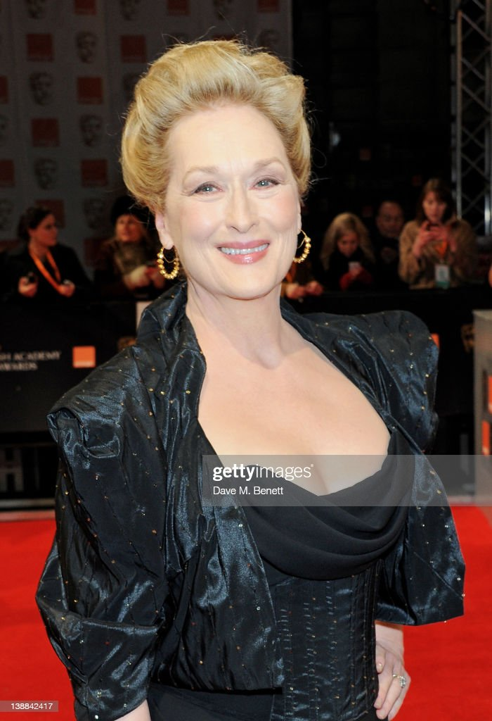 Actress <a gi-track='captionPersonalityLinkClicked' href=/galleries/search?phrase=Meryl+Streep&family=editorial&specificpeople=171097 ng-click='$event.stopPropagation()'>Meryl Streep</a> arrives at the Orange British Academy Film Awards 2012 at The Royal Opera House on February 12, 2012 in London, England.