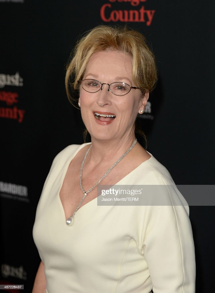 Actress <a gi-track='captionPersonalityLinkClicked' href=/galleries/search?phrase=Meryl+Streep&family=editorial&specificpeople=171097 ng-click='$event.stopPropagation()'>Meryl Streep</a> arrives at the premiere of The Weinstein Company's 'August: Osage County' at Regal Cinemas L.A. Live on December 16, 2013 in Los Angeles, California.