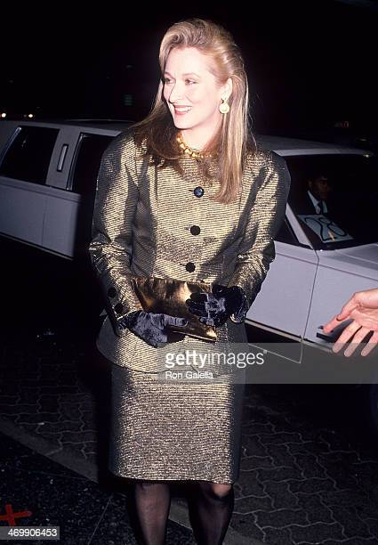 Actress Meryl Streep attends the 46th Annual Golden Globe Awards on January 28 1989 at the Beverly Hilton Hotel in Beverly Hills California