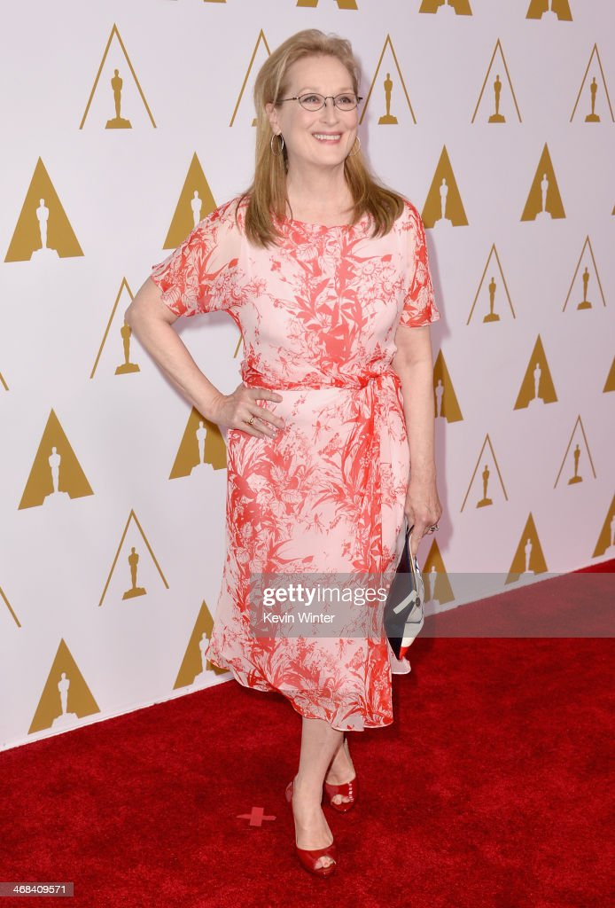 Actress <a gi-track='captionPersonalityLinkClicked' href=/galleries/search?phrase=Meryl+Streep&family=editorial&specificpeople=171097 ng-click='$event.stopPropagation()'>Meryl Streep</a> attends the 86th Academy Awards nominee luncheon at The Beverly Hilton Hotel on February 10, 2014 in Beverly Hills, California.