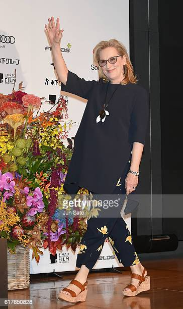 Actress Meryl Streep attends the 'Florence Foster Jenkins' press conference as part of the Tokyo International Film Festival on October 24 2016 in...