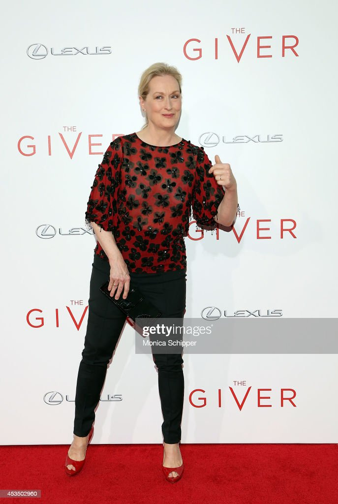 Actress Meryl Streep attends 'The Giver' premiere at Ziegfeld Theater on August 11 2014 in New York City