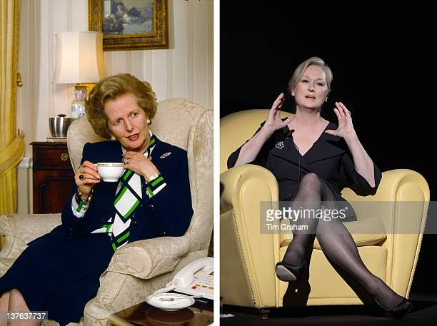 In this composite image a comparison has been made between Margaret Thatcher and actress Meryl Streep Streep portrayed former British Prime Minister...