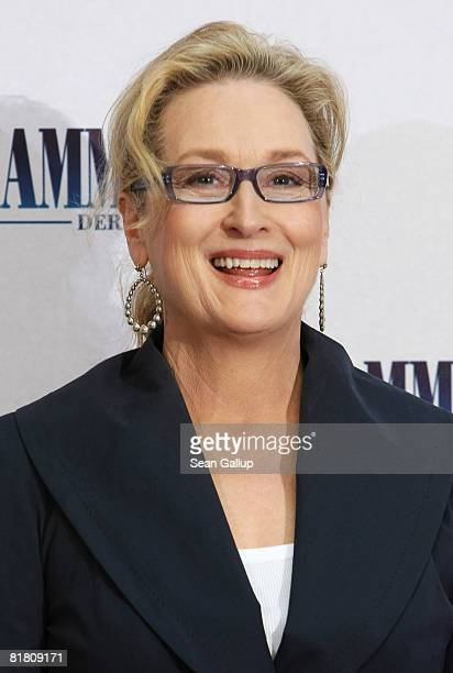 Actress Meryl Streep attends the photocall for 'Mamma Mia The Movie' at the Adlon Hotel on July 3 2008 in Berlin Germany