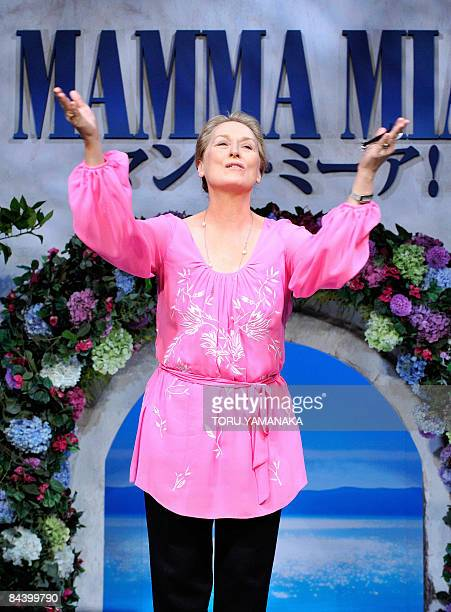 US actress Meryl Streep blows a kiss to journalists at a press conference to promote her movie 'Mamma Mia' in Tokyo on January 22 2009 The film will...