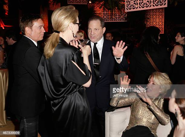 Actress Meryl Streep CoChairman of The Weinstein Company Harvey Weinstein and actress Emma Thompson attend The Weinstein Company Netflix's 2014...