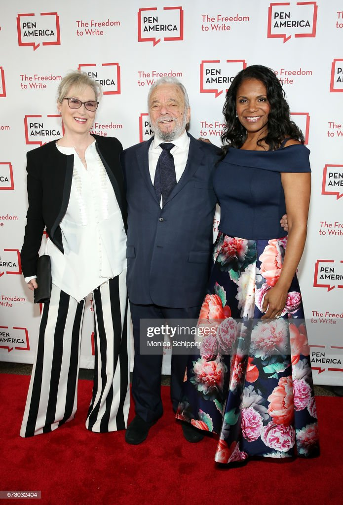 Actress Meryl Streep, composer, lyricist and honoree Stephen Sondheim and actress Audra McDonald attend the 2017 PEN America Literary Gala at American Museum of Natural History on April 25, 2017 in New York City.