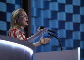 Actress Meryl Streep delivers remarks on the second day of the Democratic National Convention at the Wells Fargo Center July 26 2016 in Philadelphia...