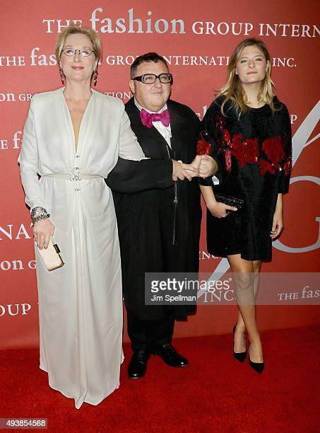 Actress Meryl Streep designer Alber Elbaz and model Louisa Gummer attend the 2015 Fashion Group International's Night of Stars at Cipriani Wall...