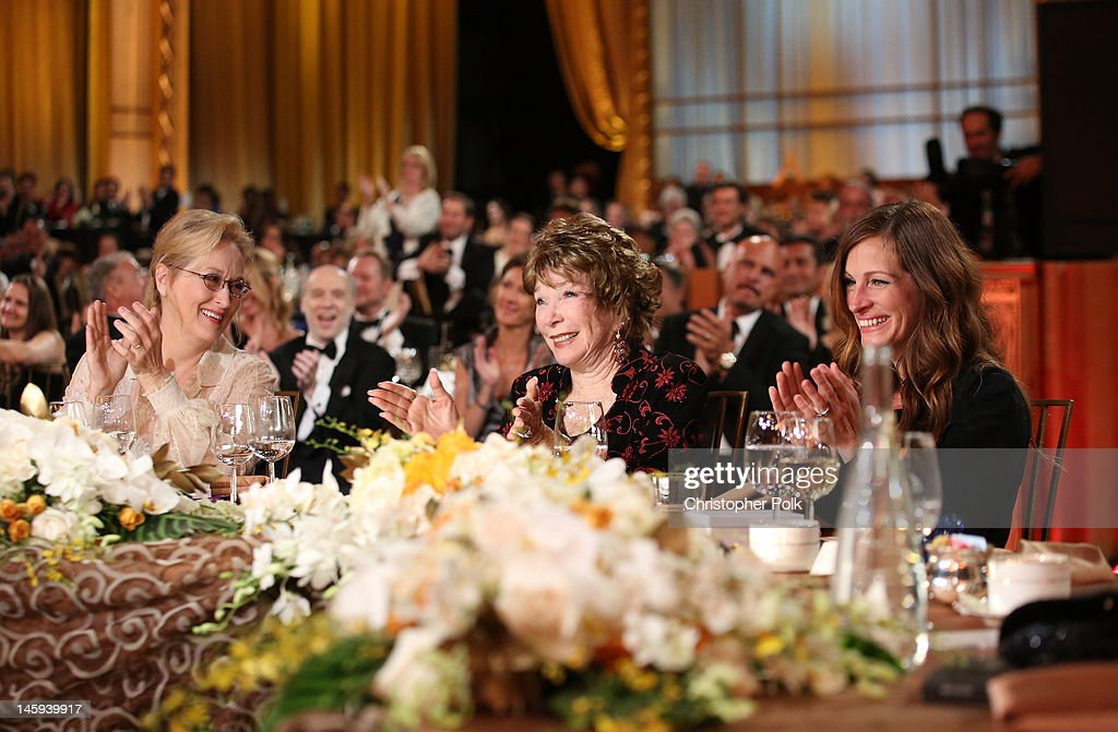 Actress <a gi-track='captionPersonalityLinkClicked' href=/galleries/search?phrase=Meryl+Streep&family=editorial&specificpeople=171097 ng-click='$event.stopPropagation()'>Meryl Streep</a>, Honoree <a gi-track='captionPersonalityLinkClicked' href=/galleries/search?phrase=Shirley+MacLaine&family=editorial&specificpeople=204788 ng-click='$event.stopPropagation()'>Shirley MacLaine</a> and actress <a gi-track='captionPersonalityLinkClicked' href=/galleries/search?phrase=Julia+Roberts&family=editorial&specificpeople=202605 ng-click='$event.stopPropagation()'>Julia Roberts</a> attend the 40th AFI Life Achievement Award honoring <a gi-track='captionPersonalityLinkClicked' href=/galleries/search?phrase=Shirley+MacLaine&family=editorial&specificpeople=204788 ng-click='$event.stopPropagation()'>Shirley MacLaine</a> held at Sony Pictures Studios on June 7, 2012 in Culver City, California. The AFI Life Achievement Award tribute to <a gi-track='captionPersonalityLinkClicked' href=/galleries/search?phrase=Shirley+MacLaine&family=editorial&specificpeople=204788 ng-click='$event.stopPropagation()'>Shirley MacLaine</a> will premiere on TV Land on Saturday, June 24 at 9PM