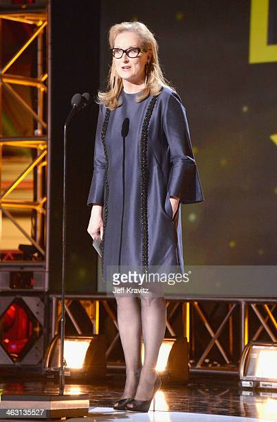 Actress Meryl Streep onstage at the 19th Annual Critics' Choice Movie Awards at Barker Hangar on January 16 2014 in Santa Monica California