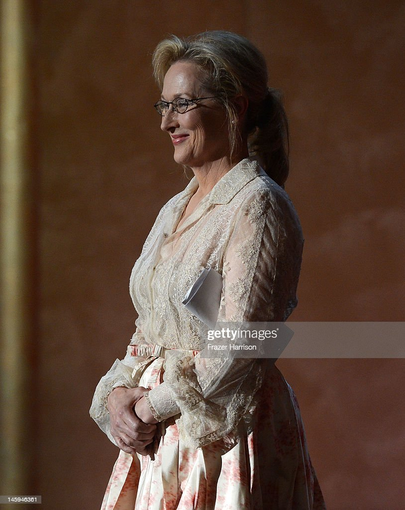 Actress Meryl Streep onstage at the 40th AFI Life Achievement Award honoring Shirley MacLaine held at Sony Pictures Studios on June 7, 2012 in Culver City, California. The AFI Life Achievement Award tribute to Shirley MacLaine will premiere on TV Land on Saturday, June 24 at 9PM
