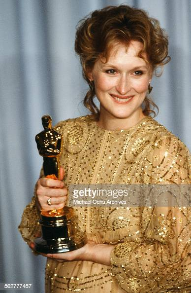 Actress Meryl Streep poses backstage after winning 'Best Actress' during the 55th Academy Awards at Dorothy Chandler Pavilion in Los AngelesCalifornia