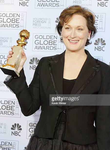 Actress Meryl Streep poses backstage at the 61st Annual Golden Globe Awards at the Beverly Hilton Hotel on January 25 2004 in Beverly Hills California