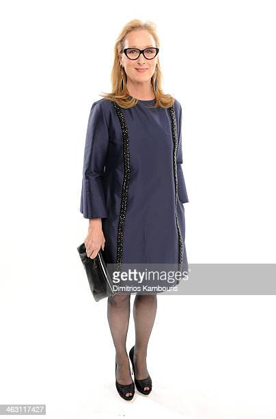 Actress Meryl Streep poses for a portrait during the 19th Annual Critics' Choice Movie Awards at Barker Hangar on January 16 2014 in Santa Monica...