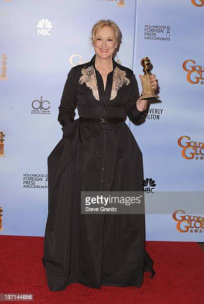 Actress Meryl Streep poses in the press room at the 69th Annual Golden Globe Awards held at the Beverly Hilton Hotel on January 15 2012 in Beverly...