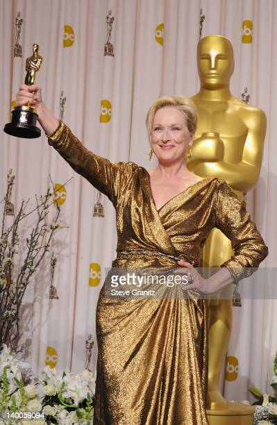 Actress Meryl Streep poses in the press room at the 84th Annual Academy Awards held at the Hollywood Highland Center on February 26 2012 in Hollywood...