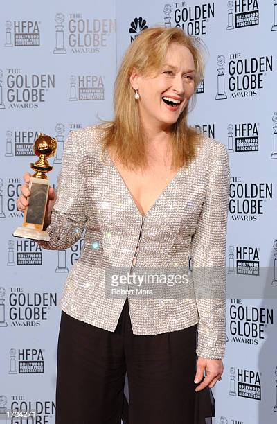 Actress Meryl Streep poses with her Best Performance By an Actress in a Motion Picture Drama for 'The Hours' backstage during the 60th Annual Golden...