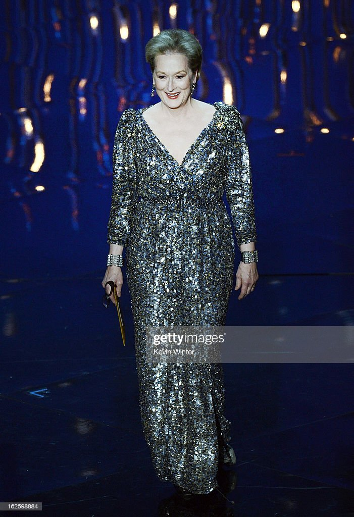 Actress <a gi-track='captionPersonalityLinkClicked' href=/galleries/search?phrase=Meryl+Streep&family=editorial&specificpeople=171097 ng-click='$event.stopPropagation()'>Meryl Streep</a> presents the Best Actor award onstage during the Oscars held at the Dolby Theatre on February 24, 2013 in Hollywood, California.