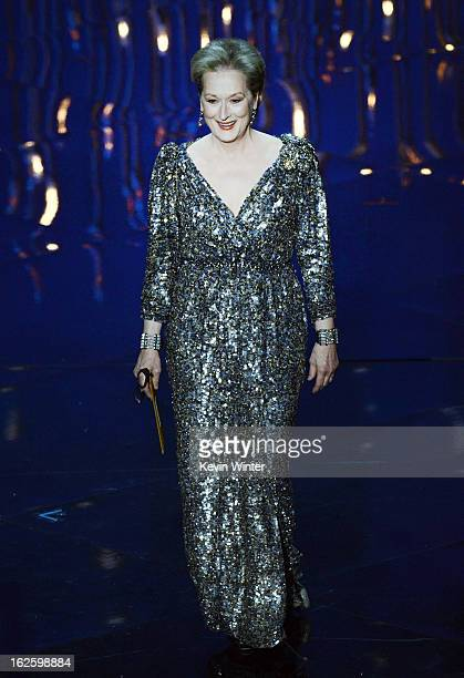 Actress Meryl Streep presents the Best Actor award onstage during the Oscars held at the Dolby Theatre on February 24 2013 in Hollywood California
