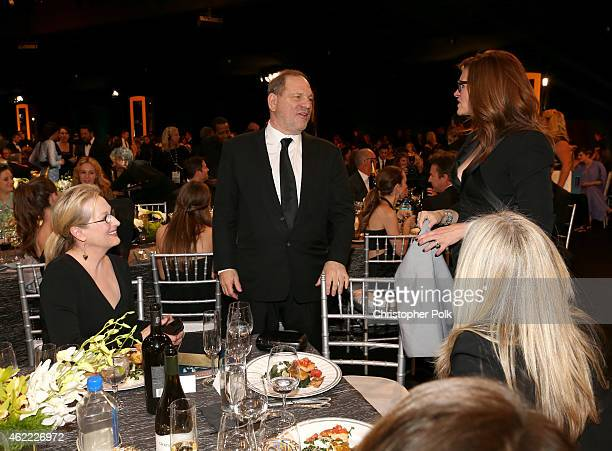 Actress Meryl Streep producer Harvey Weinstein and actress Julia Roberts attend TNT's 21st Annual Screen Actors Guild Awards at The Shrine Auditorium...