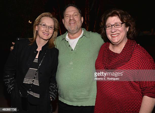 Actress Meryl Streep producer Harvey Weinstein and actress Margo Martindale attend a QA session following a screening of The Weinstein Co's 'August...