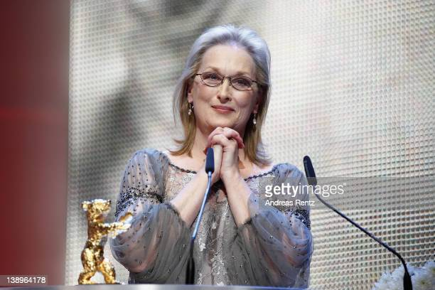Actress Meryl Streep receives the Golden Honorary Bear award for Lifetime Achievement on stage prior to 'The Iron Lady' screening at the 62nd Berlin...