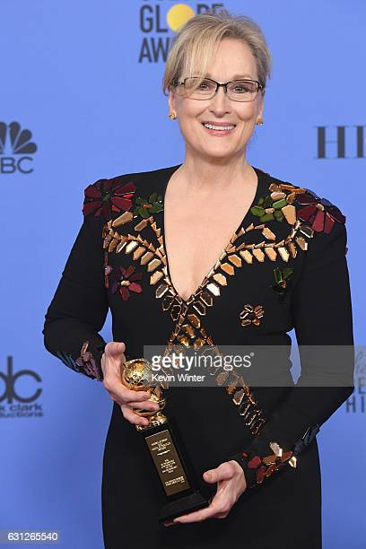 Actress Meryl Streep recipient of the Cecil B DeMille Award poses in the press room during the 74th Annual Golden Globe Awards at The Beverly Hilton...