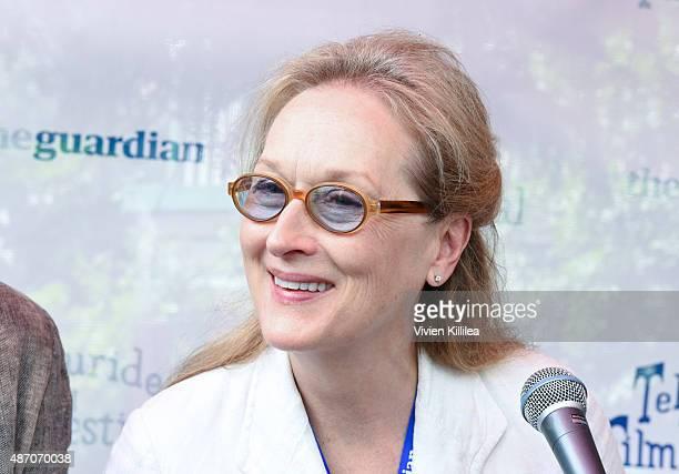 Actress Meryl Streep speaks during a seminar in Elks Park at the 2015 Telluride Film Festival on September 5 2015 in Telluride Colorado