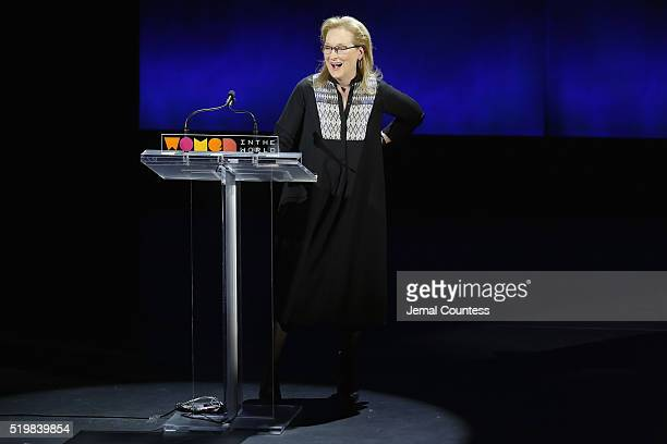 Actress Meryl Streep speaks onstage at Meryl Streep and Leaders of Tomorrow Call to Action during Tina Brown's 7th Annual Women in the World Summit...