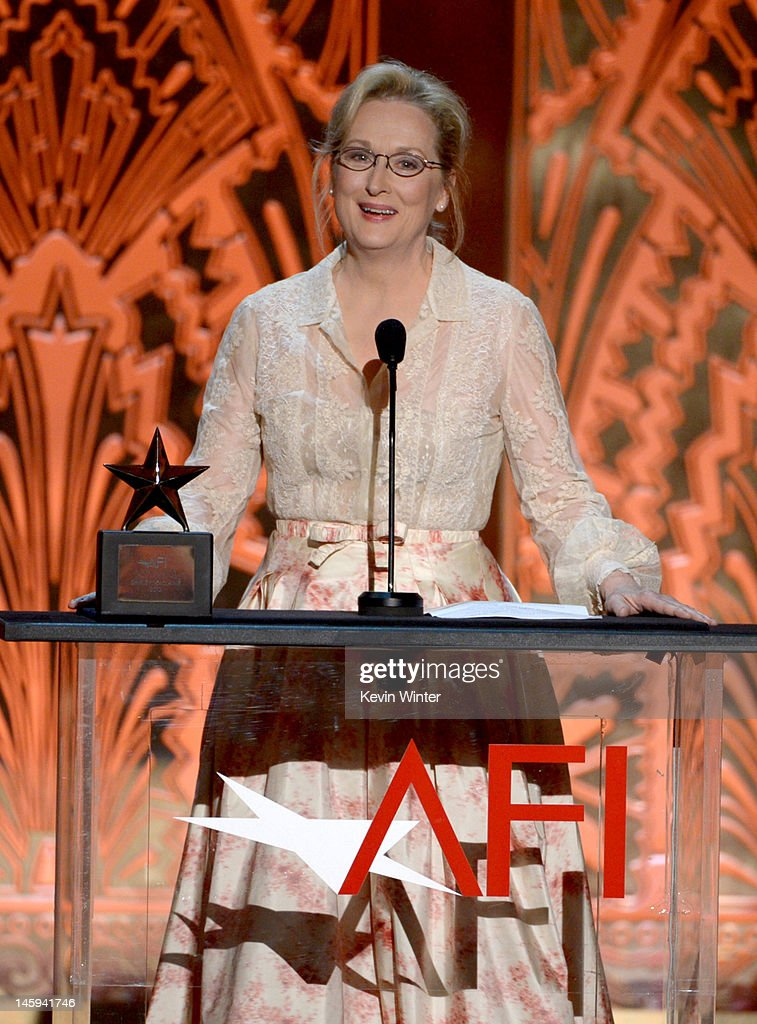 Actress <a gi-track='captionPersonalityLinkClicked' href=/galleries/search?phrase=Meryl+Streep&family=editorial&specificpeople=171097 ng-click='$event.stopPropagation()'>Meryl Streep</a> speaks onstage at the 40th AFI Life Achievement Award honoring Shirley MacLaine held at Sony Pictures Studios on June 7, 2012 in Culver City, California. The AFI Life Achievement Award tribute to Shirley MacLaine will premiere on TV Land on Saturday, June 24 at 9PM ET/PST.