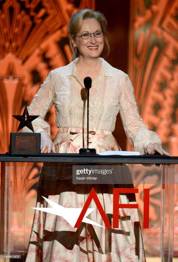 Actress <a gi-track='captionPersonalityLinkClicked' href=/galleries/search?phrase=Meryl+Streep&family=editorial&specificpeople=171097 ng-click='$event.stopPropagation()'>Meryl Streep</a> speaks onstage at the 40th AFI Life Achievement Award honoring Shirley MacLaine held at Sony Pictures Studios on June 7, 2012 in Culver City, California. The AFI Life Achievement Award tribute to Shirley MacLaine will premiere on TV Land on Saturday, June 24 at 9PM