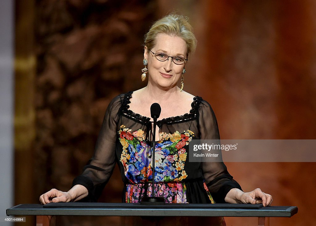 Actress Meryl Streep speaks onstage during the 2014 AFI Life Achievement Award: A Tribute to Jane Fonda at the Dolby Theatre on June 5, 2014 in Hollywood, California. Tribute show airing Saturday, June 14, 2014 at 9pm ET/PT on TNT.