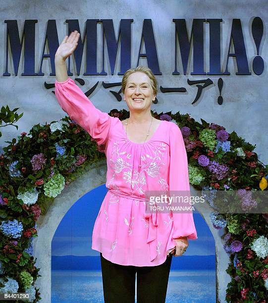 US actress Meryl Streep waves to journalists at a press conference to promote her movie 'Mamma Mia' in Tokyo on January 22 2009 The film will be...