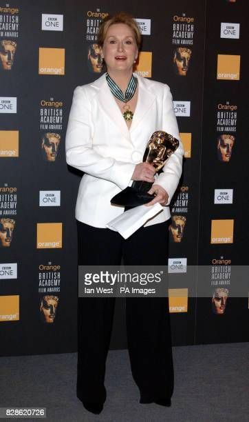 Actress Meryl Streep who presented the Best Adapted Screenplay Award to Adaptation Charlie Kaufman/Donald Kaufman at The Orange British Academy Film...