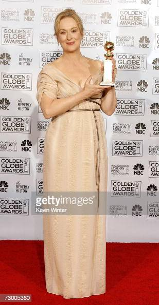 Actress Meryl Street poses with her Best Performance by an Actress in a Motion Picture Musical or Comedy award for 'The Devil Wears Prada' backstage...