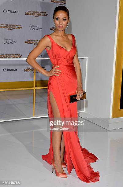 Actress Meta Golding attends 'The Hunger Games Mockingjay Part 1' Los Angeles Premiere at Nokia Theatre LA Live on November 17 2014 in Los Angeles...
