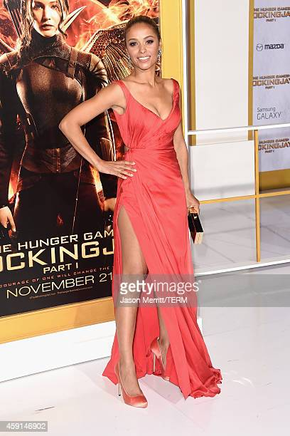 Actress Meta Golding attends the Premiere of Lionsgate's 'The Hunger Games Mockingjay Part 1' at Nokia Theatre LA Live on November 17 2014 in Los...