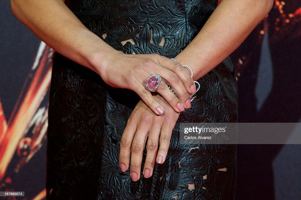 Actress Meta Golding (hands detail) attends the Spanish premiere of the film 'The Hunger Games - Catching Fire' (Los Juegos Del Hambre: En Llamas) at the Callao cinema on November 13, 2013 in Madrid, Spain.