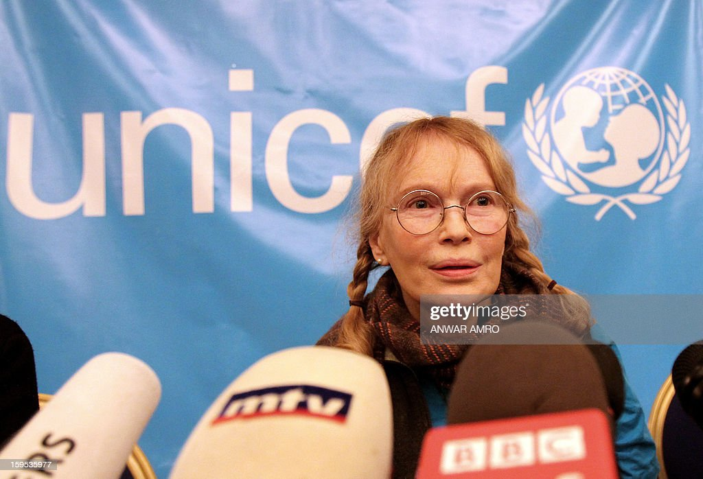 US Actress Mia Farrow, a UNICEF goodwill ambassador, speaks to the press at a hotel in Beirut on January 15, 2013. Farrow is on a two day visit to Lebanon, meeting Syrian refugees. AFP PHOTO / ANWAR AMRO