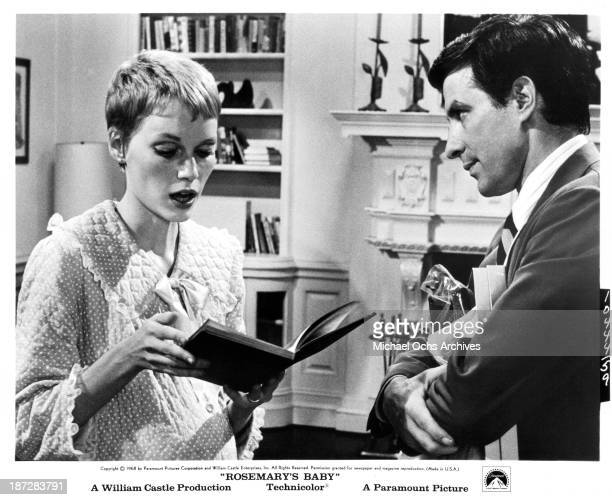 Actress Mia Farrow and actor John Cassavetes on set of the Paramount Pictures movie 'Rosemary's Baby' in 1968