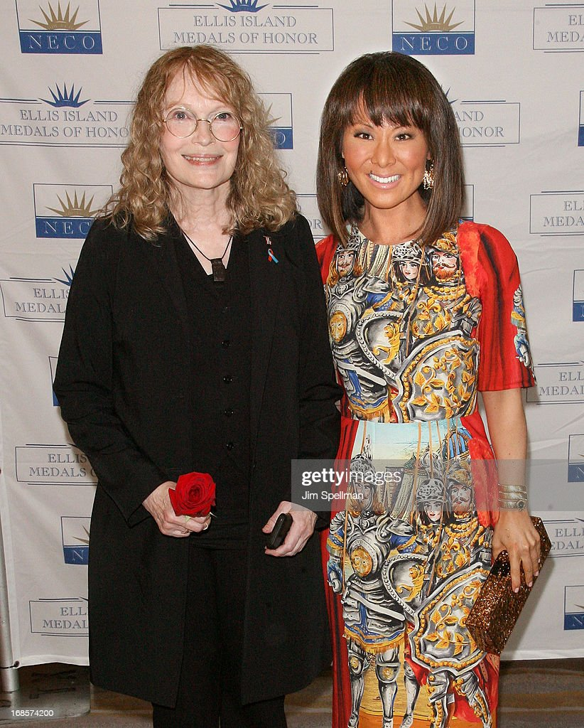 Actress <a gi-track='captionPersonalityLinkClicked' href=/galleries/search?phrase=Mia+Farrow&family=editorial&specificpeople=93764 ng-click='$event.stopPropagation()'>Mia Farrow</a> and journalist Alina Cho attend the Ellis Island Medals Of Honor Pre-Gala Reception at Ritz Carlton Hotel on May 11, 2013 in New York City.