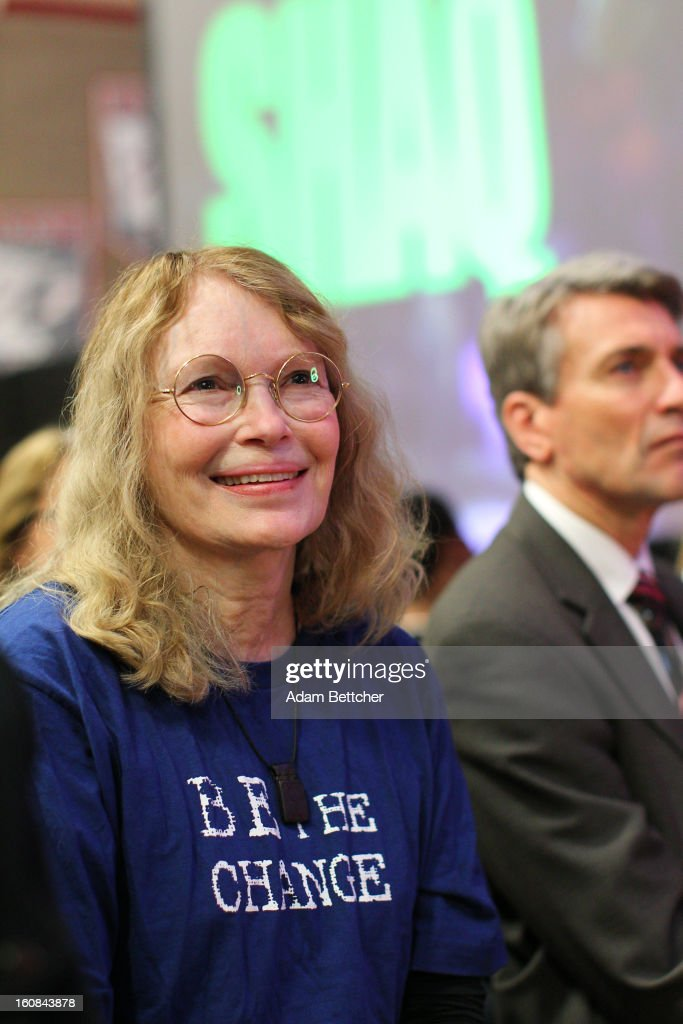 Actress <a gi-track='captionPersonalityLinkClicked' href=/galleries/search?phrase=Mia+Farrow&family=editorial&specificpeople=93764 ng-click='$event.stopPropagation()'>Mia Farrow</a> smiles at students before the Jonas Brothers surprise 600 students at Minneapolis Patrick Henry High School to launch 'We Day' on February 6, 2013 in Minneapolis, Minnesota.