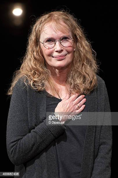 Actress Mia Farrow takes her curtain call during 'Love Letters' Broadway Opening Night at The Brooks Atkinson Theatre on September 18 2014 in New...