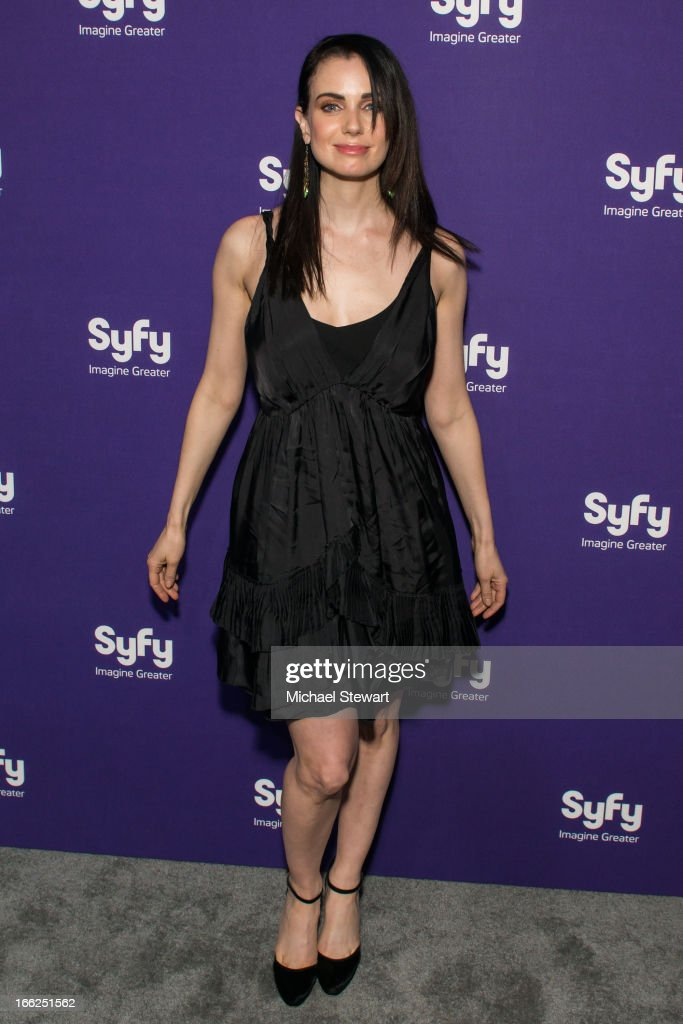 Actress Mia Kirshner attends the 2013 Syfy Upfront at Silver Screen Studios at Chelsea Piers on April 10, 2013 in New York City.