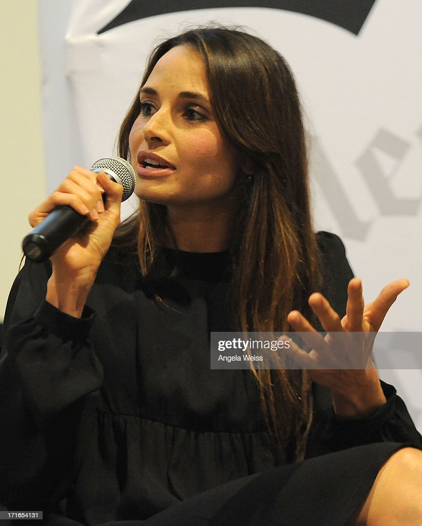 Actress <a gi-track='captionPersonalityLinkClicked' href=/galleries/search?phrase=Mia+Maestro&family=editorial&specificpeople=206317 ng-click='$event.stopPropagation()'>Mia Maestro</a> participates in a Q&A following the premiere of 'Some Girl(s)' at Laemmle NoHo 7 on June 26, 2013 in North Hollywood, California.