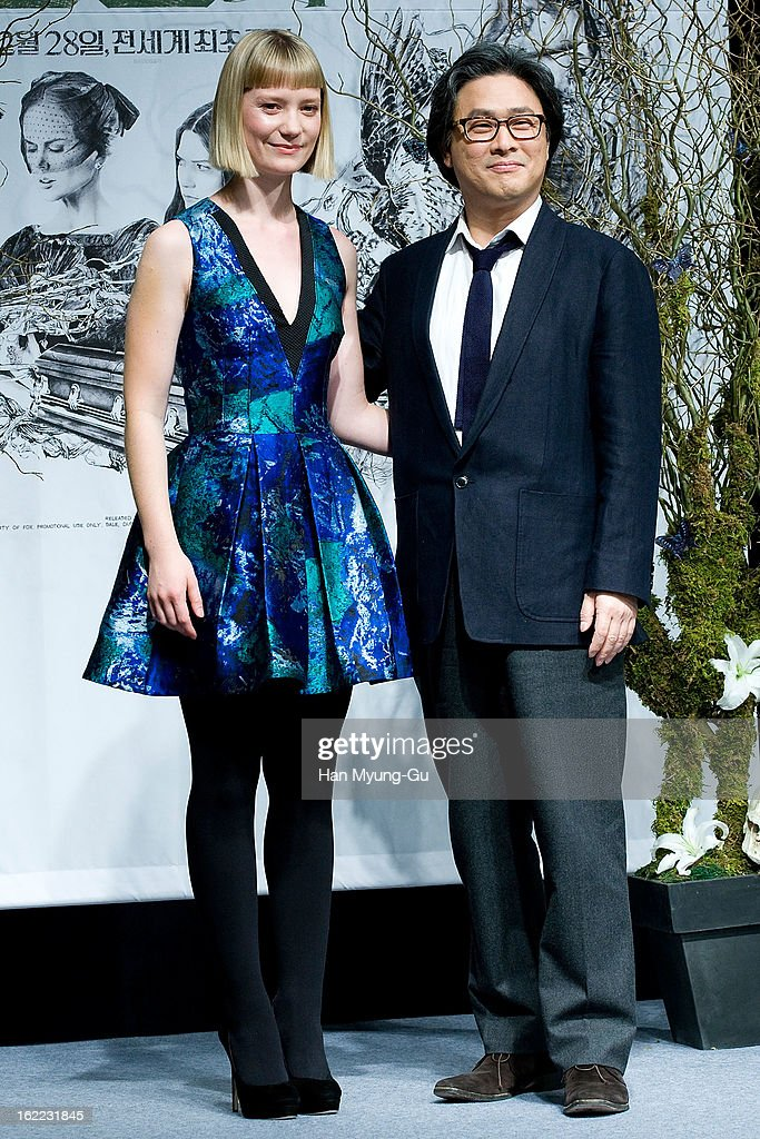 Actress <a gi-track='captionPersonalityLinkClicked' href=/galleries/search?phrase=Mia+Wasikowska&family=editorial&specificpeople=3965263 ng-click='$event.stopPropagation()'>Mia Wasikowska</a> and director Park Chan-Wook pose for media during the 'Stoker' press conference at Grand Hyatt hotel on February 21, 2013 in Seoul, South Korea. The film will open on February 28 in South Korea.