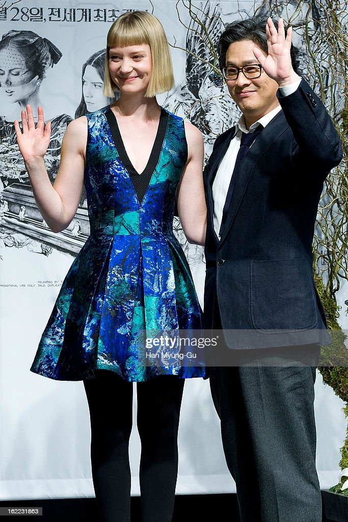 Actress Mia Wasikowska and director Park Chan-Wook pose for media during the 'Stoker' press conference at Grand Hyatt hotel on February 21, 2013 in Seoul, South Korea. The film will open on February 28 in South Korea.